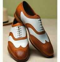 Handmade Men's Brown & White Leather Heart Medallion Dress Formal Shoes