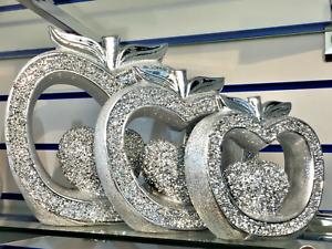XL SET OF 3 SILVER APPLE SET SPARKLE BLING ORNAMENT CRUSHED DIAMOND,HOME DECOR💎