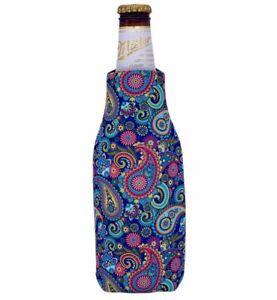 Paisley Pattern Beer Bottle Coolie; Cozy, Hugger, Holder, Zipper