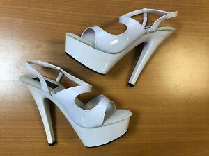 Pleaser Kiss Women's Platform High Heels Dance Spool Shoes 235 White UK Size 7