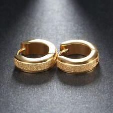 Unisex Stainless Steel Gold Coloured Hoop Earrings