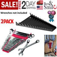 2 Pack Rail Wrench Rack Holder Storage Organizer Tray Sorter Tool Box 16 Socket