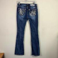 "Miss Me Jeans Women's Size 27 Inseam 35"" Boot Cut Mid Rise Dark Wash"