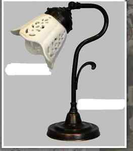 Lamp For Bedside Table Bedroom Brass Burnished Lampshade Ceramics Retro