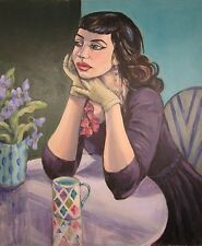 "Yvonne Auld original ""la contemplation"" Christian Schad style Dada peinture femme"
