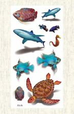 US SELLER, temporary tatoos 3D turtle fish sharp sea life temporary tattoo