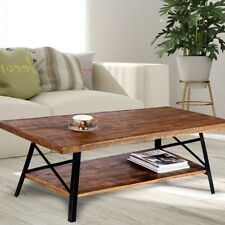 """Cocktail Wood & Metal Legs Coffee Table Olee Sleep 46"""", Rustic Brown"""