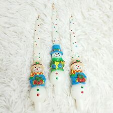 """Vtg Guild House 10"""" Tapered Snowman Christmas Chandles Nwob *Read*"""
