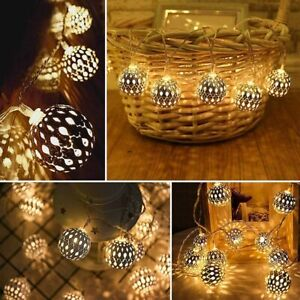 Morrocan String Lights Garden Home BBQ Party 8 LED Fairy Parasol Battery Outdoor