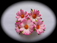 Mulberry Paper Flowers - 5 CHRYSANTHEMUMS - PALE PINK - Cardmaking Embellishment