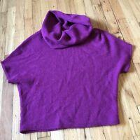 Lands End Sweater Womens Small Cowl Neck Short Sleeve 100% Purple Wool Alpaca