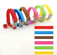 "Various Colors Nylon Dog Puppy Collar Cat Kitten Collar Bell Attached for 6-9""XS"