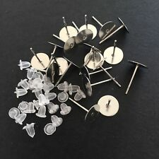 50 Pairs Stainless Steel Earring Posts Studs 12x8mm with Rubber Backs