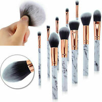 10x White Marbling Kabuki Make up Brush Set Brushes Blusher Face Powder Marble