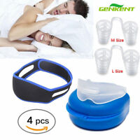 Snores Stopper-Nose Vents Device,Chin Strap,Anti Snore Mouthpiece 4PCS in 1 Kit