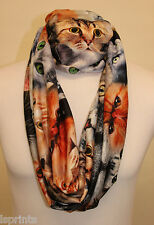 Infinity Scarf Jersey Or Chiffon Cats All over Unisex Fashion Loop Scarves