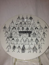 "FELISSIMO MAURIZIO GALANTE TRIBUTE 21 SALAD PLATE 8 1/4"" BLACK FIGURES ON WHITE"