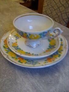 Sammel Tassen Gedeck mit Goldrand/ Plauen Porzellanmanufaktur aus Nachlass