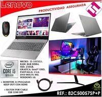 PACK PORTATIL 15,6 TELETRABAJO LENOVO V15 I5 1035G1 SSD256 MONITOR HDMI 24 RATON