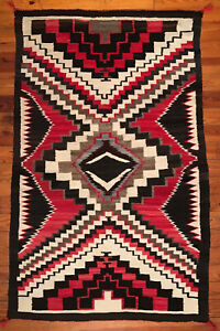 "Circa 1920's NAVAJO Red Mesa Blanket Rug 59""x38""- Smokin' Great Serape Style"