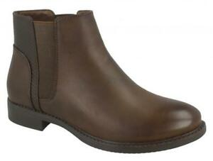 LADIES SPOT ON F5R1023 BROWN PULL ON ANKLE BOOT