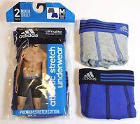 New Men adidas Climalite Athletic (2-Pack) Gray/Navy Blue Boxer Brief Underwear