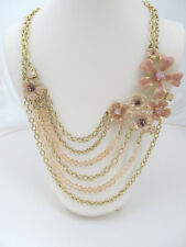Charter Club Multi Chain Gold Tone Pink Enamel Flowers Collar Necklace $66