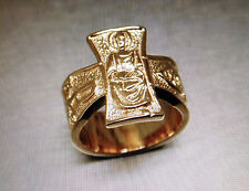 Pope John Paul II Cross Ring Catholic Sterling Silver Gold Plated