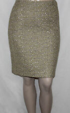 Calvin Klein Size 12P Metallic-Flecked Tweed Pencil Skirt Multi-color