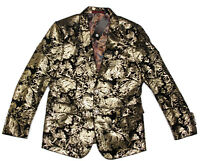 CLOUD STYLE Wild! Black Velvet Gold Paisley Sports Coat Blazer Jacket size XS