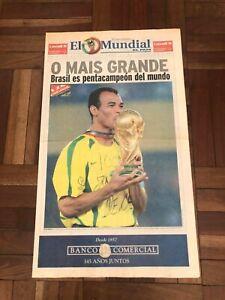 2002 KOREA JAPAN FIFA World Cup Uruguay newspaper w/BRAZIL CHAMPION NEWS