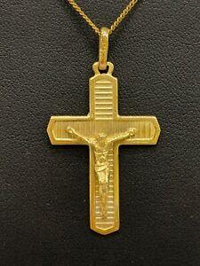 9ct 9k Yellow Gold Crucifix Cross Pendant With Jesus 3.9 Grams. Brand New