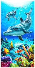 "30""x60"" Dolphins Coral Reef ""Dolphins Life Blue"" Beach Towel"