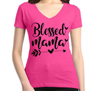 Blessed Mama Women's V-Neck Mother's Day Mom Life New Mom For Mom Cute T-Shirt