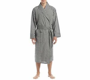 Hanes Men's Big & Tall Lightweight Shawl Robe Black Plaid 3X/4X