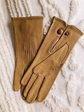 Vintage Nude Tan French Gloves Leather France Size 7.5 Washable Au Louvre Paris