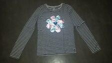 OKAIDI 12 ans Sublime t-shirt maillot marinière sequins brillants TRES BON ETAT