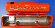 Proform 141-924 Chevy Small Block Slant Edge Cast Aluminum Valve Covers Orange