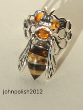 Bee with Honey Baltic Amber Ring on Silver 925