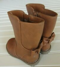 "NWT Cat & Jack Toddler Girls Tall Fashion Brown Boots ""Hermione"" with Bow Size 5"