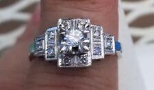 Diamond Engagement Ring 14K White Gold Vintage
