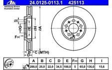 ATE Juego de 2 discos freno Antes 288mm ventilado para SEAT CITROEN