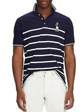 NEW POLO RALPH LAUREN NAVY WHITE STRIPED CAPTAIN BEAR CLASSIC FIT POLO SIZE 2XL