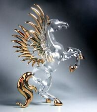 PEGASUS HORSE hand blown ART crystal clear GLASS figurine Gild 5 Inches - GIFT