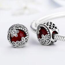 925 Plata Corazón Rojo Margaritas radiante con piedras zirconia cúbico