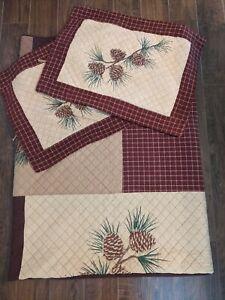 "Donna Sharp Pinecone Pine Lodge Patchwork King Quilt 110""x96""- 2 Standard Shams"
