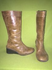 Slate Brown Fly London Zip-Up Wedge Boots 10 41