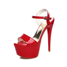 Women's Stiletto Heels Sandals Platform Shoes Pumps Black/White/Red UK Size S801