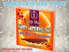 PERSONALISED Mothers Day CHOCOLATE BOX LABEL NOVELTY GIFT Nanny Mum Mother's