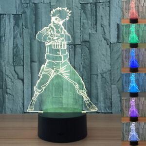 3D LED Night Light Naruto Kakashi Touch Swift Table Desk Bed Lamp 7 Colour